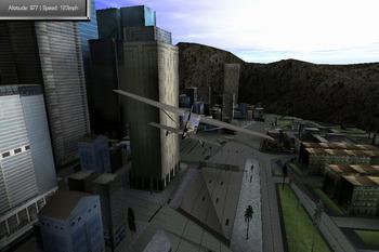 市街地上空を遊覧飛行